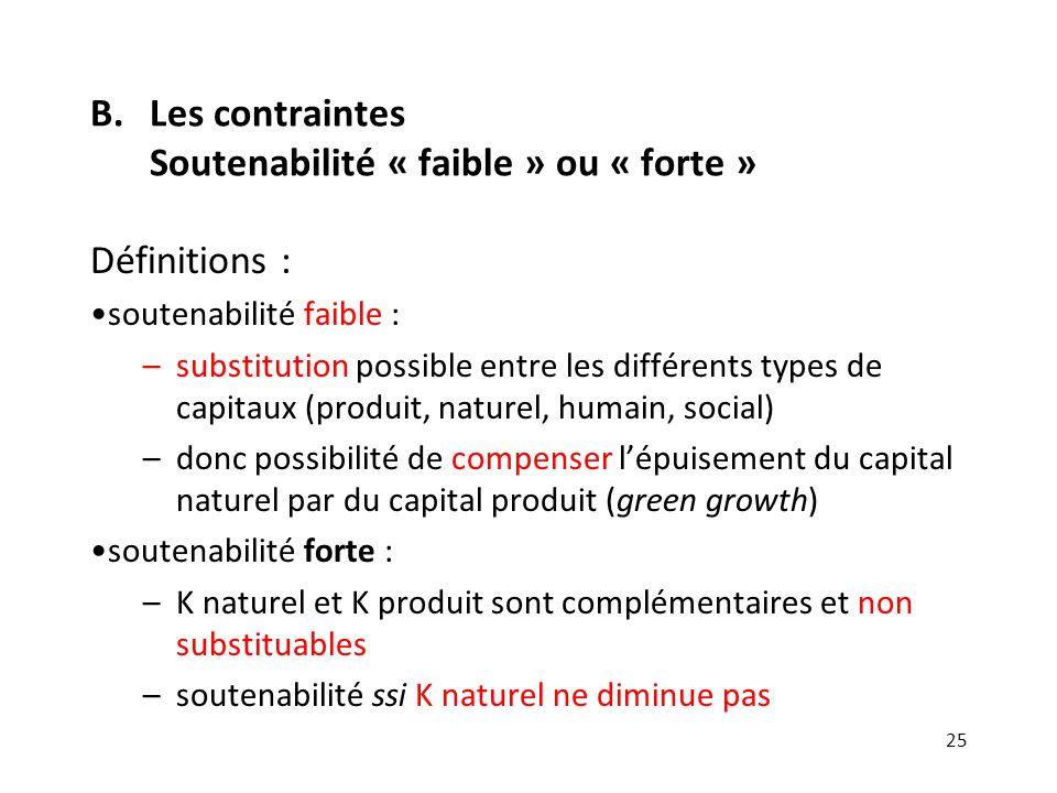 B.Les contraintes Soutenabilité « faible » ou « forte » Définitions : soutenabilité faible : –substitution possible entre les différents types de capi