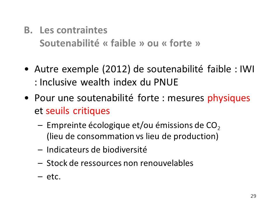 B.Les contraintes Soutenabilité « faible » ou « forte » Autre exemple (2012) de soutenabilité faible : IWI : Inclusive wealth index du PNUE Pour une s