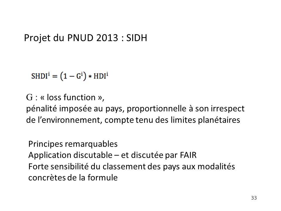 Projet du PNUD 2013 : SIDH 33 G : « loss function », pénalité imposée au pays, proportionnelle à son irrespect de lenvironnement, compte tenu des limi