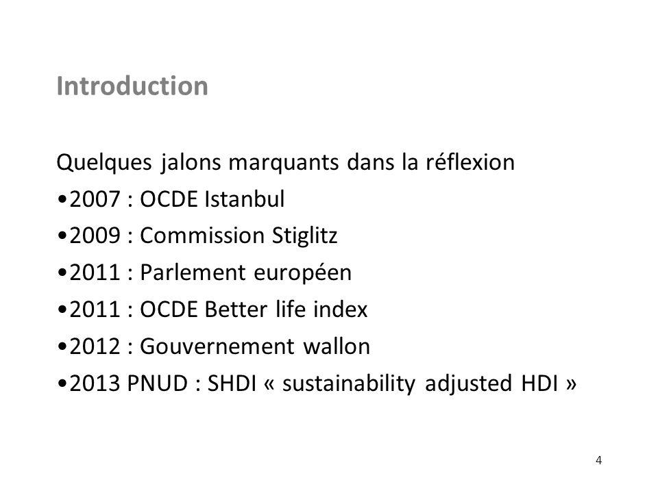 Introduction Quelques jalons marquants dans la réflexion 2007 : OCDE Istanbul 2009 : Commission Stiglitz 2011 : Parlement européen 2011 : OCDE Better