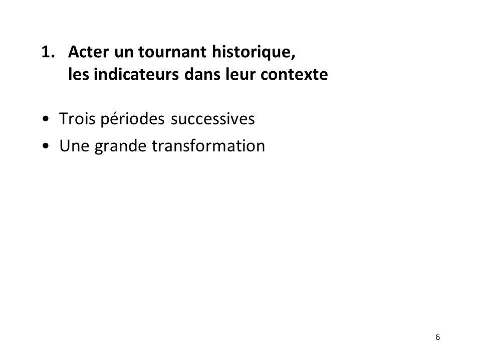 1.Acter un tournant historique, les indicateurs dans leur contexte Trois périodes successives Une grande transformation 6