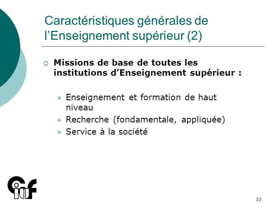 10 Caractéristiques générales de lEnseignement supérieur (2) Missions de base de toutes les institutions dEnseignement supérieur : Enseignement et for