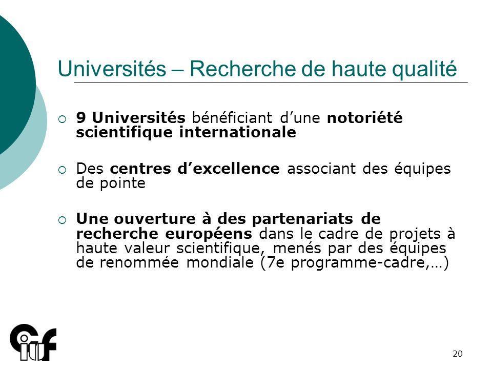 20 Universités – Recherche de haute qualité 9 Universités bénéficiant dune notoriété scientifique internationale Des centres dexcellence associant des