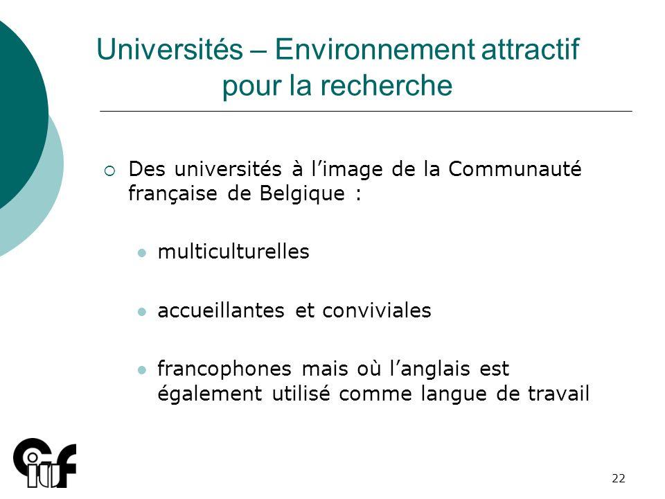 22 Universités – Environnement attractif pour la recherche Des universités à limage de la Communauté française de Belgique : multiculturelles accueill