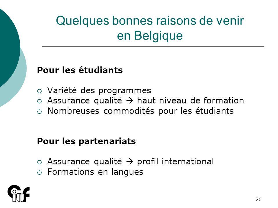 26 Quelques bonnes raisons de venir en Belgique Pour les étudiants Variété des programmes Assurance qualité haut niveau de formation Nombreuses commod
