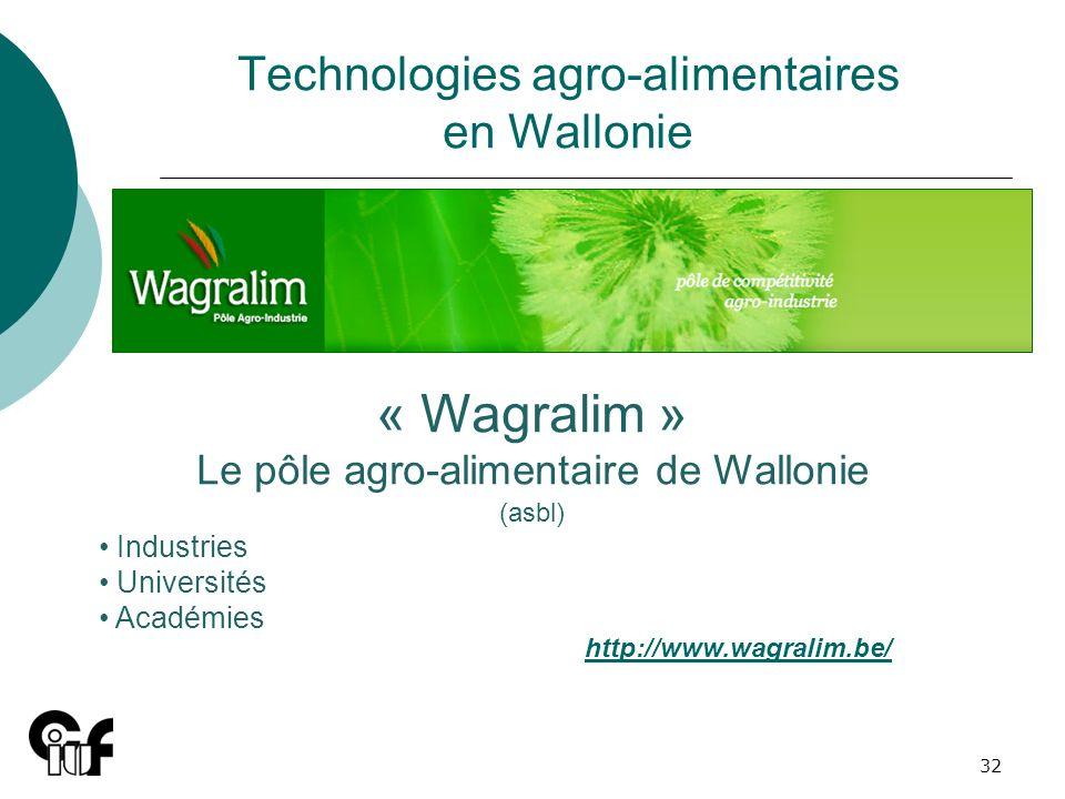 32 Technologies agro-alimentaires en Wallonie « Wagralim » Le pôle agro-alimentaire de Wallonie (asbl) Industries Universités Académies http://www.wag