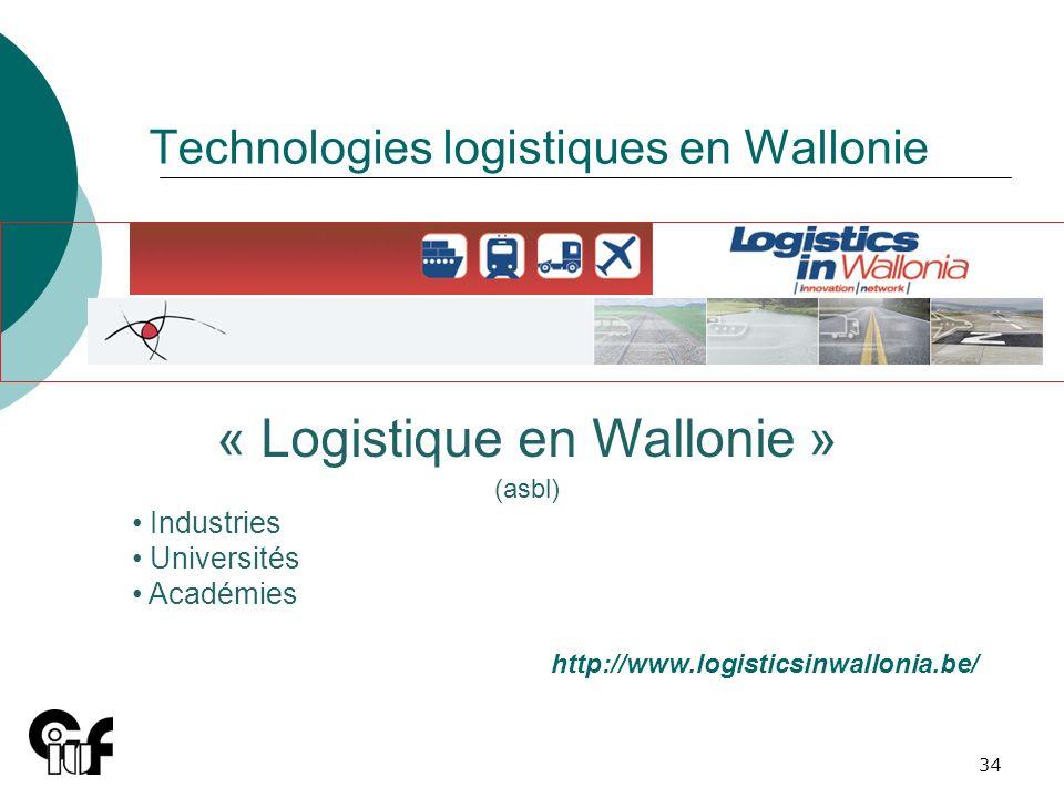 34 Technologies logistiques en Wallonie « Logistique en Wallonie » (asbl) Industries Universités Académies http://www.logisticsinwallonia.be/