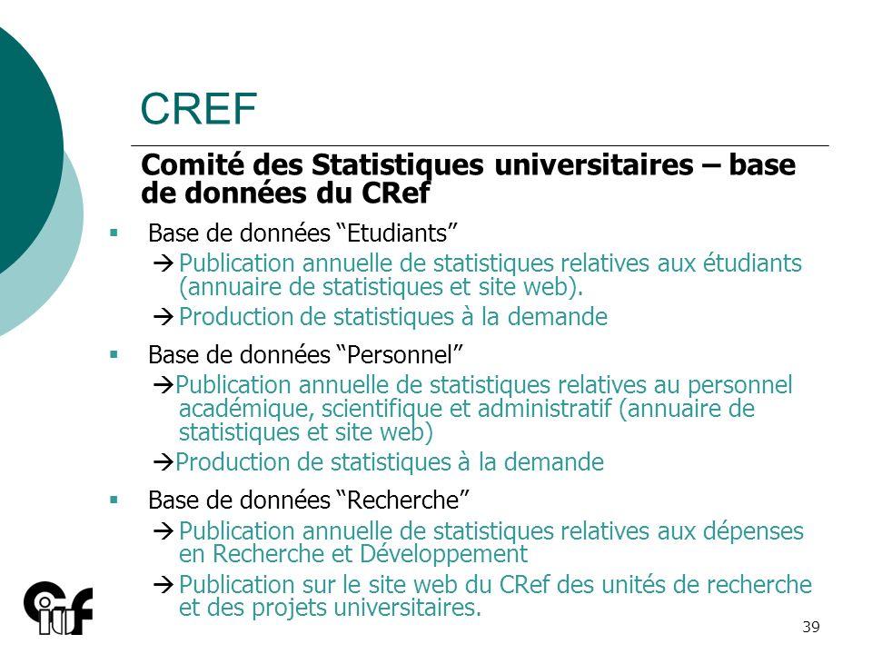 39 CREF Comité des Statistiques universitaires – base de données du CRef Base de données Etudiants Publication annuelle de statistiques relatives aux