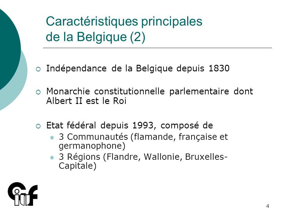4 Caractéristiques principales de la Belgique (2) Indépendance de la Belgique depuis 1830 Monarchie constitutionnelle parlementaire dont Albert II est