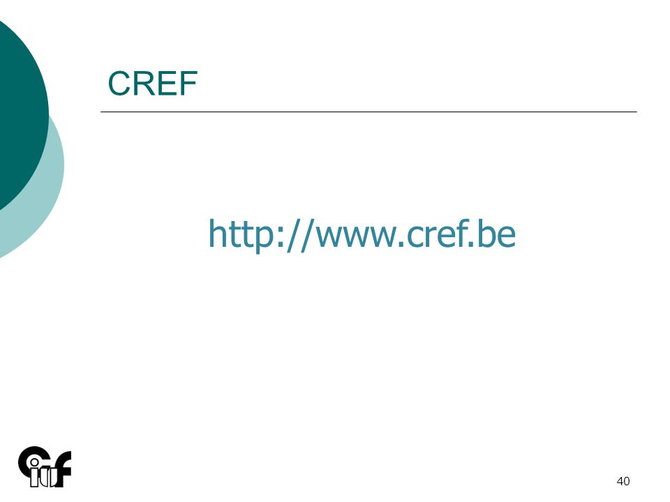 40 CREF http://www.cref.be