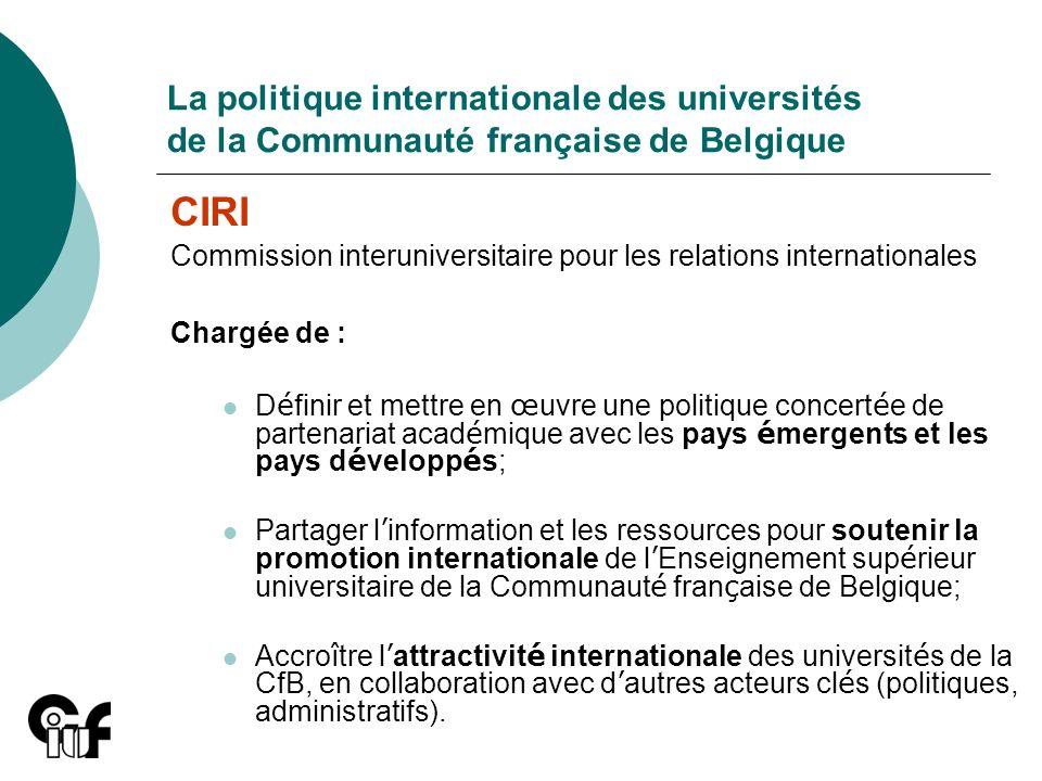 La politique internationale des universités de la Communauté française de Belgique CIRI Commission interuniversitaire pour les relations international