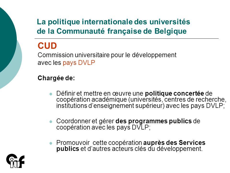 La politique internationale des universités de la Communauté française de Belgique CUD Commission universitaire pour le développement avec les pays DV