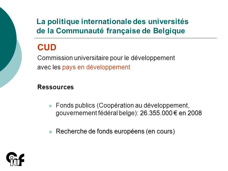 La politique internationale des universités de la Communauté française de Belgique CUD Commission universitaire pour le développement avec les pays en