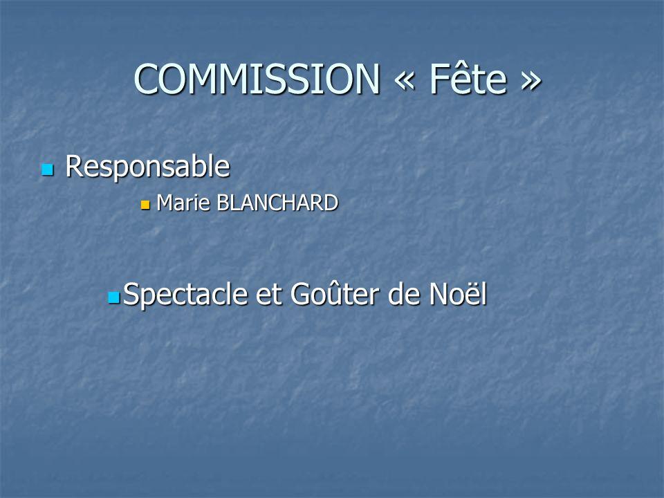 COMMISSION « Fête » COMMISSION « Fête » Responsable Responsable Marie BLANCHARD Marie BLANCHARD Spectacle et Goûter de Noël Spectacle et Goûter de Noël