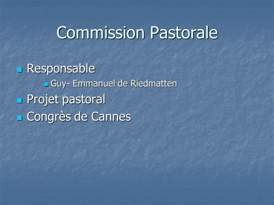Commission Pastorale Responsable Responsable Guy- Emmanuel de Riedmatten Guy- Emmanuel de Riedmatten Projet pastoral Projet pastoral Congrès de Cannes Congrès de Cannes