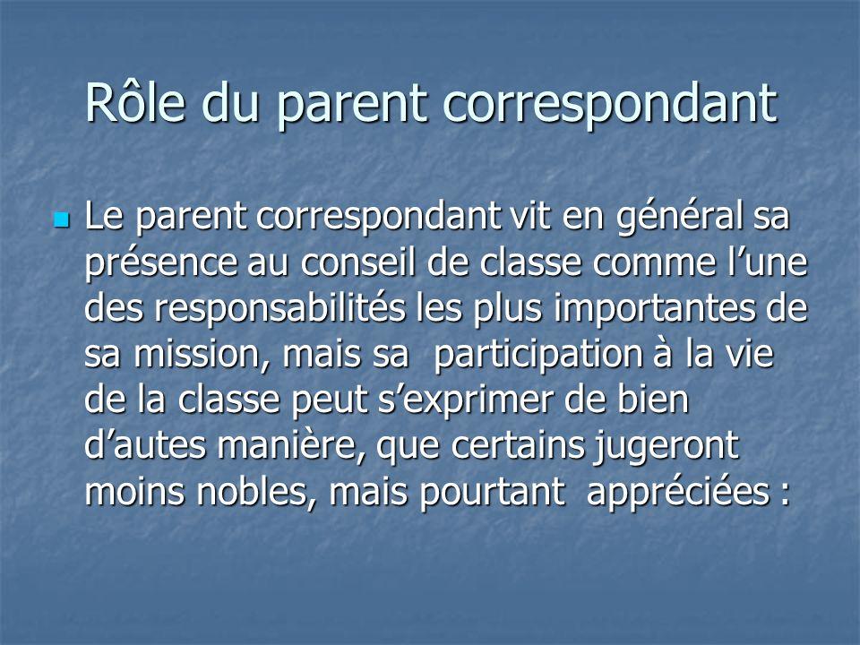 Rôle du parent correspondant Le parent correspondant fait le lien entre les enseignants et les parents de la classe. Il est un médiateur qui doit crée