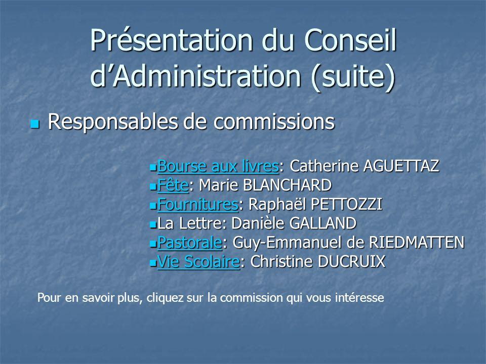 Présentation des membres du Conseil dAdministration Les responsables de Niveaux Les responsables de Niveaux Lycée: Pierre DUBOST-LAMY Lycée: Pierre DU