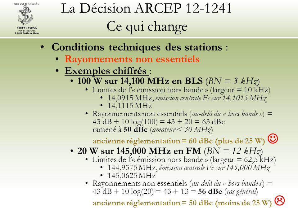 La Décision ARCEP 12-1241 Ce qui change Conditions techniques des stations : Rayonnements non essentiels Exemples chiffrés : 100 W sur 14,100 MHz en BLS (BN = 3 kHz) Limites de l« émission hors bande » (largeur = 10 kHz) 14,0915 MHz, émission centrale Fc sur 14,1015 MHz 14,1115 MHz Rayonnements non essentiels (au-delà du « hors bande ») = 43 dB + 10 log(100) = 43 + 20 = 63 dBc ramené à 50 dBc (amateur < 30 MHz) ancienne réglementation = 60 dBc (plus de 25 W) 20 W sur 145,000 MHz en FM (BN = 12 kHz) Limites de l« émission hors bande » (largeur = 62,5 kHz) 144,9375 MHz, émission centrale Fc sur 145,000 MHz 145,0625 MHz Rayonnements non essentiels (au-delà du « hors bande ») = 43 dB + 10 log(20) = 43 + 13 = 56 dBc (cas général) ancienne réglementation = 50 dBc (moins de 25 W)