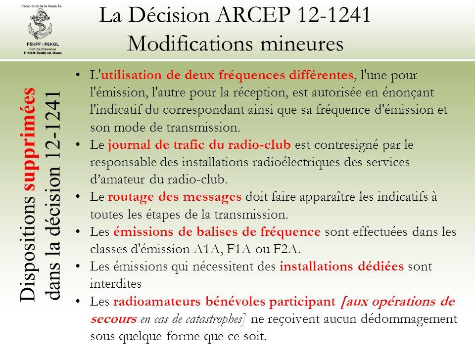 La Décision ARCEP 12-1241 Modifications mineures L utilisation de deux fréquences différentes, l une pour l émission, l autre pour la réception, est autorisée en énonçant l indicatif du correspondant ainsi que sa fréquence d émission et son mode de transmission.