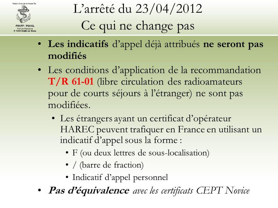 Larrêté du 23/04/2012 Ce qui ne change pas Les indicatifs dappel déjà attribués ne seront pas modifiés Les conditions dapplication de la recommandation T/R 61-01 (libre circulation des radioamateurs pour de courts séjours à létranger) ne sont pas modifiées.
