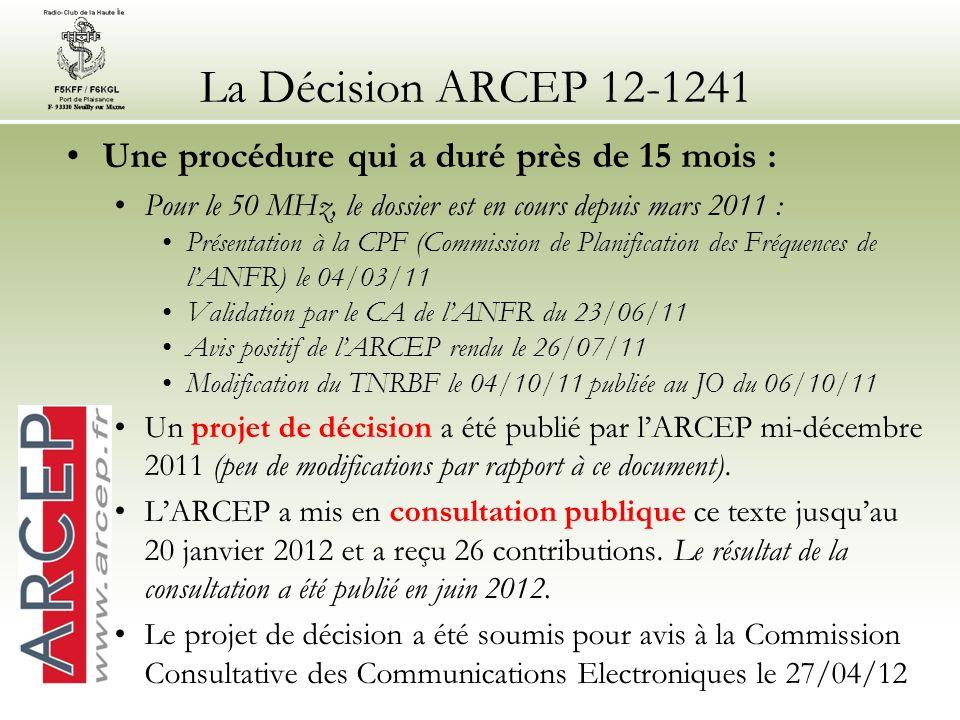 La Décision ARCEP 12-1241 Une procédure qui a duré près de 15 mois : Pour le 50 MHz, le dossier est en cours depuis mars 2011 : Présentation à la CPF (Commission de Planification des Fréquences de lANFR) le 04/03/11 Validation par le CA de lANFR du 23/06/11 Avis positif de lARCEP rendu le 26/07/11 Modification du TNRBF le 04/10/11 publiée au JO du 06/10/11 Un projet de décision a été publié par lARCEP mi-décembre 2011 (peu de modifications par rapport à ce document).