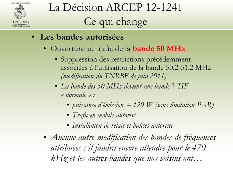 La Décision ARCEP 12-1241 Ce qui change Les bandes autorisées Ouverture au trafic de la bande 50 MHz Suppression des restrictions précédemment associées à lutilisation de la bande 50,2-51,2 MHz (modification du TNRBF de juin 2011) La bande des 50 MHz devient une bande VHF « normale » : puissance démission = 120 W (sans limitation PAR) Trafic en mobile autorisé Installation de relais et balises autorisée Aucune autre modification des bandes de fréquences attribuées : il faudra encore attendre pour le 470 kHz et les autres bandes que nos voisins ont…