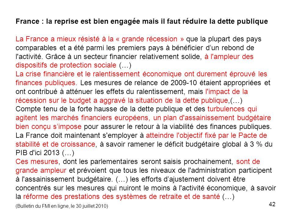 France : la reprise est bien engagée mais il faut réduire la dette publique La France a mieux résisté à la « grande récession » que la plupart des pay