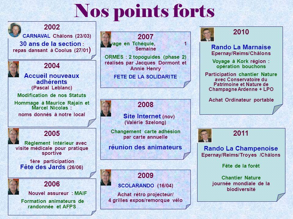 Nos points forts 2002 CARNAVAL Châlons (23/03) 30 ans de la section : repas dansant à Coolus (27/01 ) 2004 Accueil nouveaux adhérents (Pascal Leblanc)