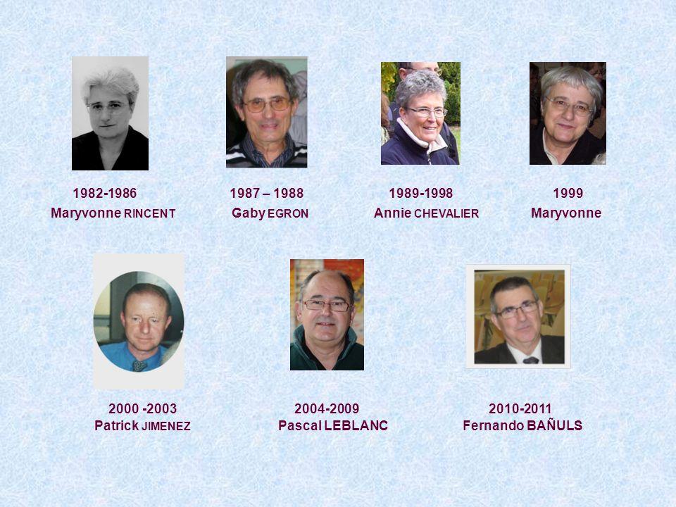 1979 : Jean SANVOISIN 1985 : 27 personnes Bernard BAZOUIN Francine PERSON Pierre BRUNEL Suzanne PETIT Annie CHEVALIER Chantal PINOTIE Laurent DARDOISE Rina PROUST Sylvie DESNOYER Monique REVEMONT Jacques DORMONT Maryvonne RINCENT Francette et Gaby EGRON Janine SABATE Françoise GIROLDI Anne-Marie SONNET Catherine et François LENTZ Jean-Louis THIEBAULT Pierre LOISEL Armelle TROISGROS Fernand MAURO Daniel VANESSON Anne-Marie MONCLIN Gérard WENDLING Sylvie PALIN 1999 : sous légide de Patrick JIMENEZ