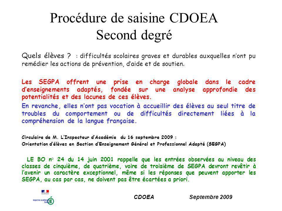 CDOEA Septembre 2009 Procédure de saisine CDOEA Second degré Quels élèves .