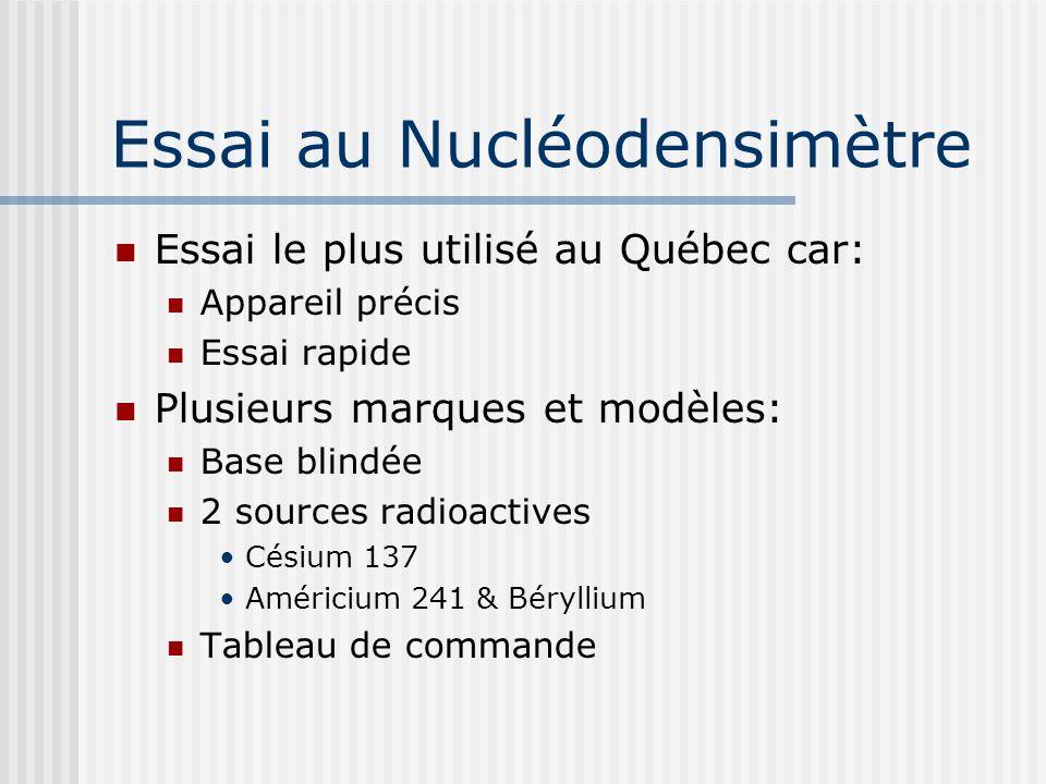 Essai le plus utilisé au Québec car: Appareil précis Essai rapide Plusieurs marques et modèles: Base blindée 2 sources radioactives Césium 137 Américium 241 & Béryllium Tableau de commande Essai au Nucléodensimètre