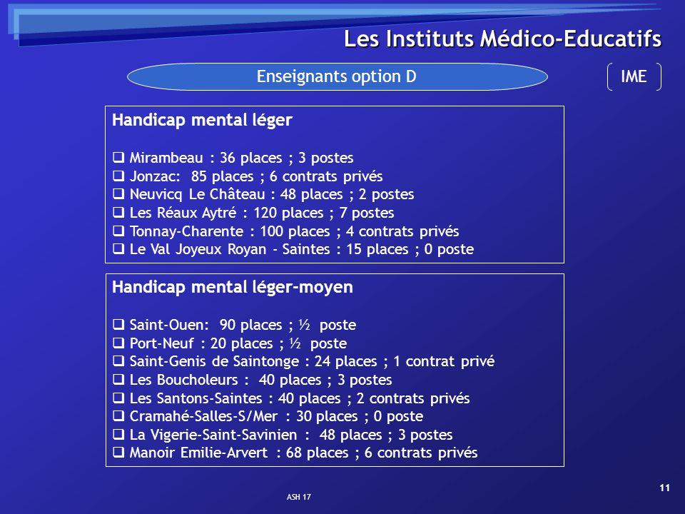 ASH 17 11 Les Instituts Médico-Educatifs Enseignants option D Handicap mental léger Mirambeau : 36 places ; 3 postes Jonzac: 85 places ; 6 contrats pr