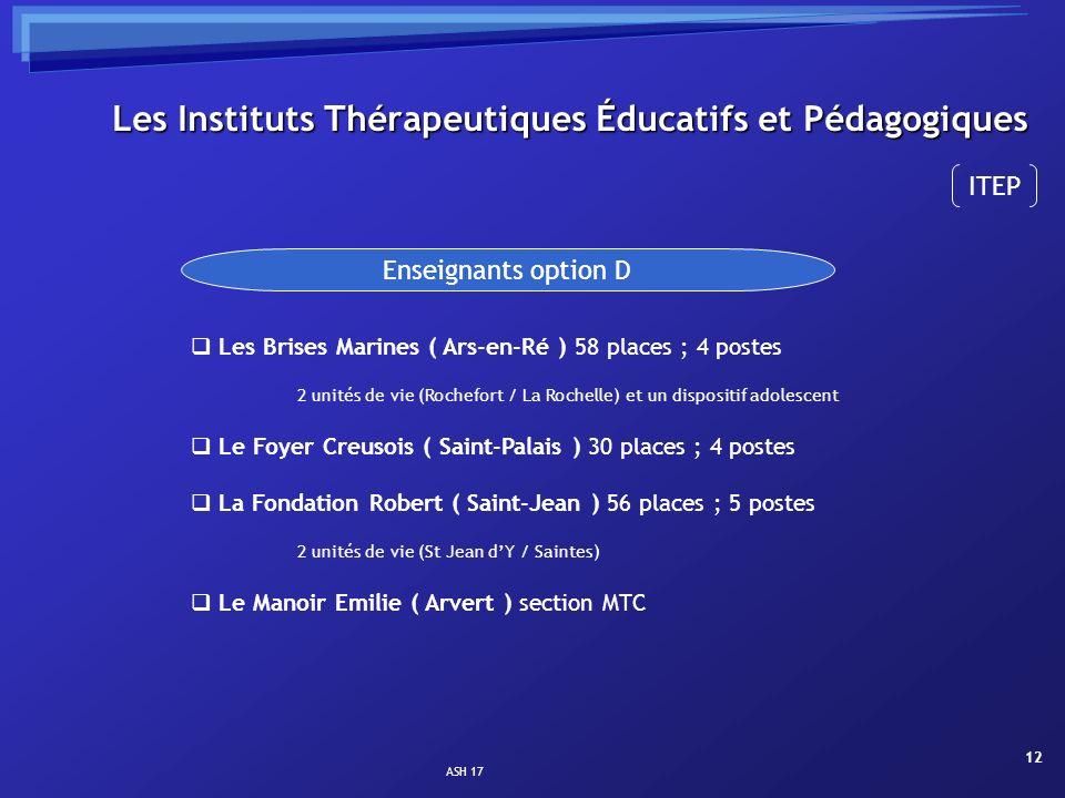 ASH 17 12 Les Instituts Thérapeutiques Éducatifs et Pédagogiques Enseignants option D Les Brises Marines ( Ars-en-Ré ) 58 places ; 4 postes 2 unités d
