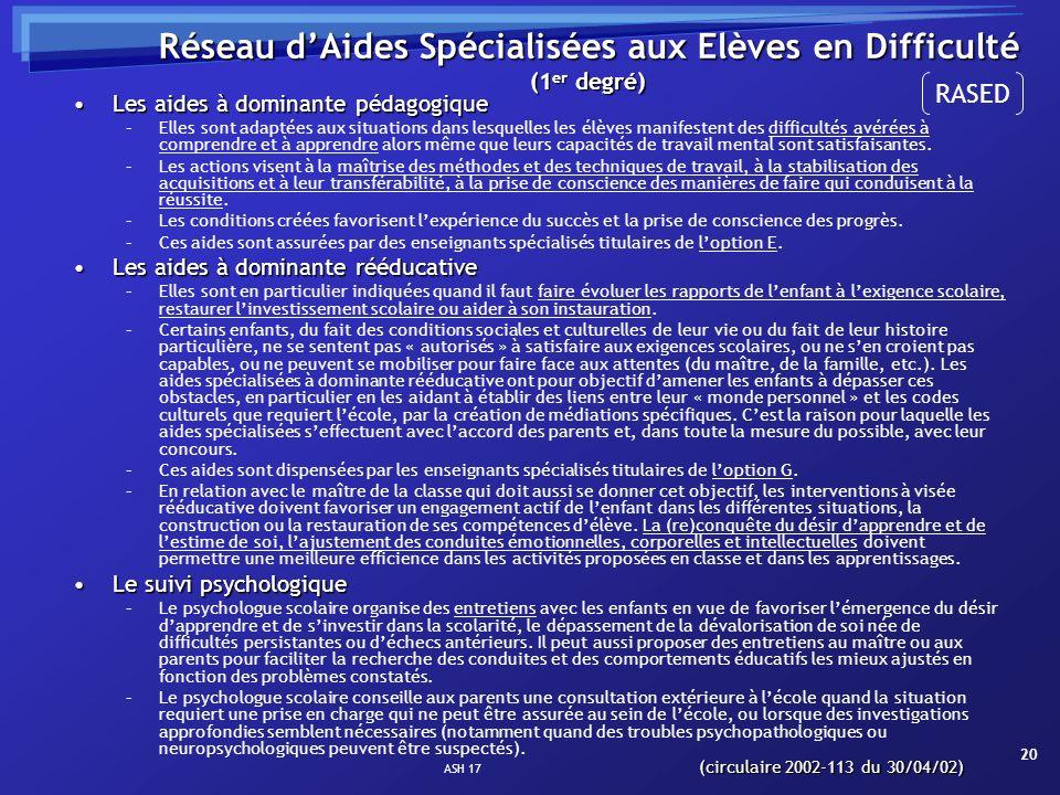 ASH 17 20 Réseau dAides Spécialisées aux Elèves en Difficulté (1 er degré) Les aides à dominante pédagogiqueLes aides à dominante pédagogique –Elles s