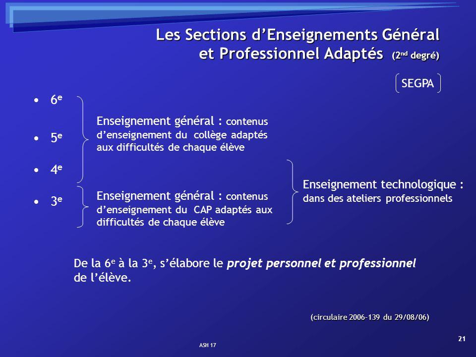 ASH 17 21 Les Sections dEnseignements Général et Professionnel Adaptés (2 nd degré) 6 e 5 e 4 e 3 e De la 6 e à la 3 e, sélabore le projet personnel e