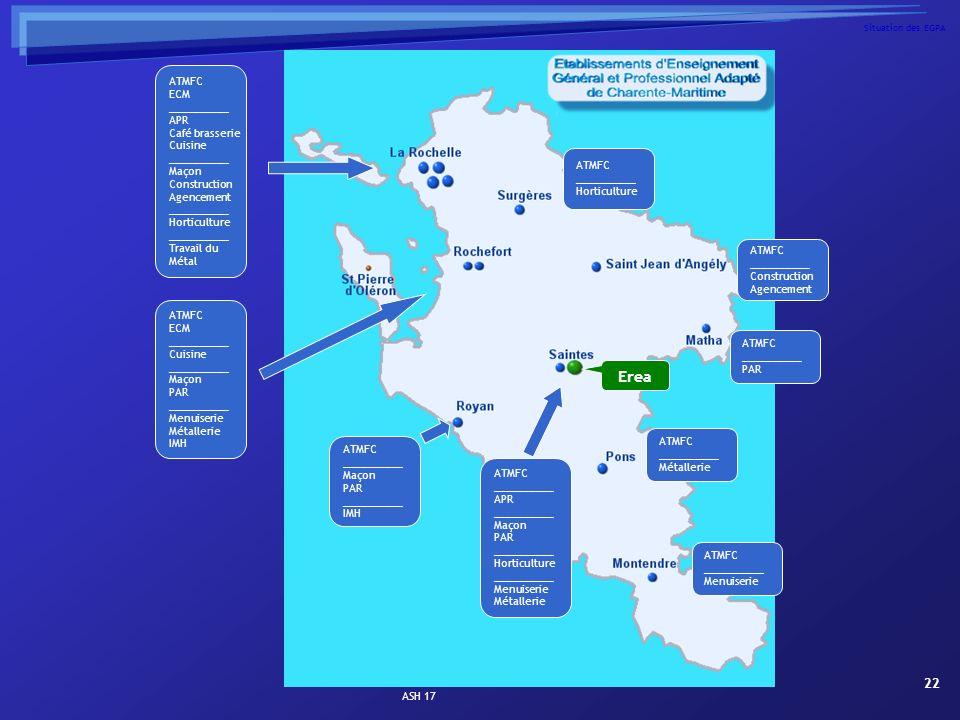 ASH 17 22 Situation des EGPA ATMFC ECM __________ APR Café brasserie Cuisine __________ Maçon Construction Agencement __________ Horticulture ________
