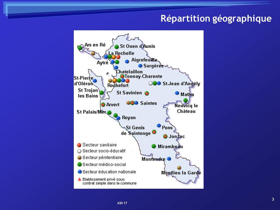ASH 17 14 Les services de soins, MTC, manifestations et troubles du comportement (St Jean / Saintes, La Rochelle / Rochefort, Royan / Jonzac) ………………… 48 places ; 3 enseignants Handicap moteur (La Rochelle) …………………………………………………..…….
