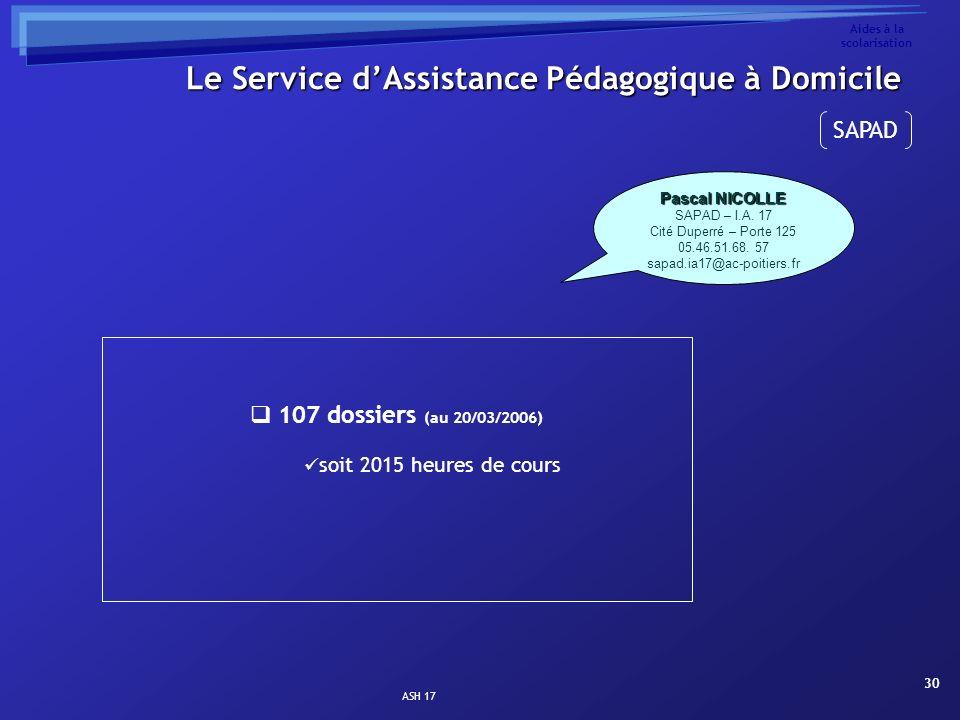ASH 17 30 Aides à la scolarisation 107 dossiers (au 20/03/2006) soit 2015 heures de cours Le Service dAssistance Pédagogique à Domicile Pascal NICOLLE