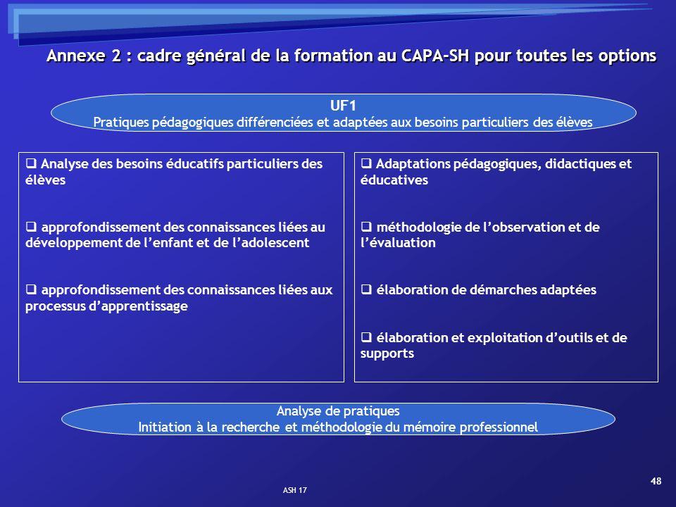 ASH 17 48 Analyse des besoins éducatifs particuliers des élèves approfondissement des connaissances liées au développement de lenfant et de ladolescen