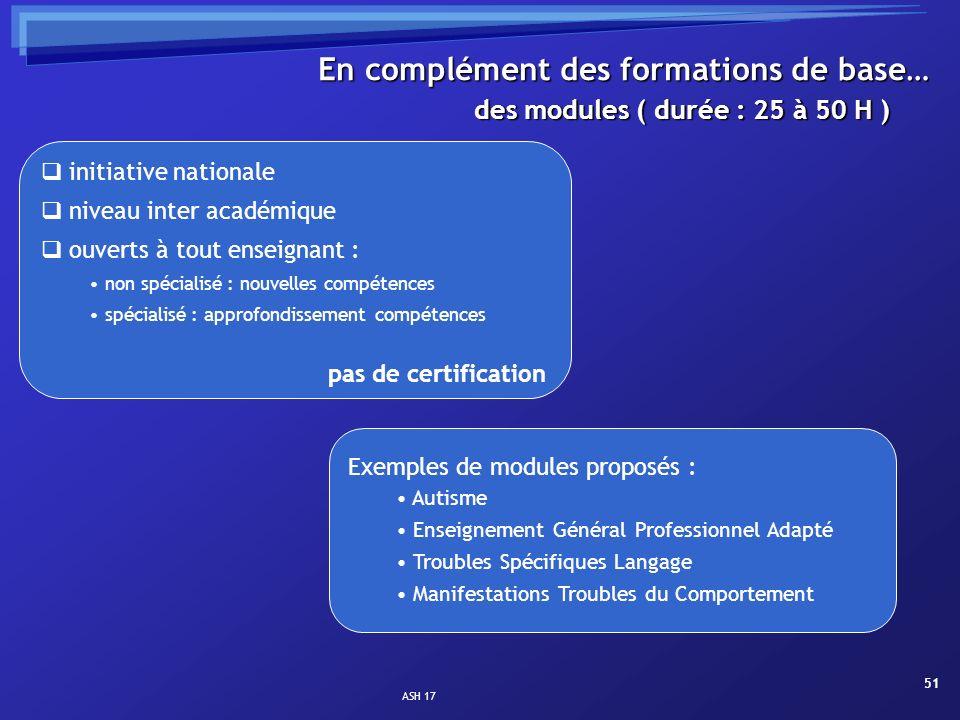 ASH 17 51 des modules ( durée : 25 à 50 H ) En complément des formations de base… initiative nationale niveau inter académique ouverts à tout enseigna