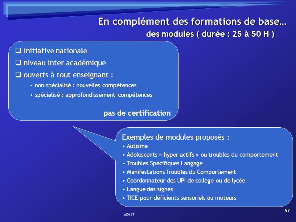 ASH 17 57 des modules ( durée : 25 à 50 H ) En complément des formations de base… initiative nationale niveau inter académique ouverts à tout enseigna