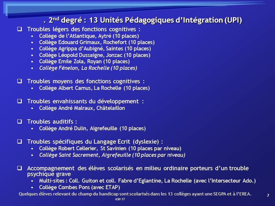 ASH 17 7. 2 nd degré : 13 Unités Pédagogiques dIntégration (UPI) Troubles légers des fonctions cognitives : Collège de lAtlantique, Aytré (10 places)