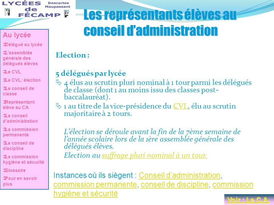 Les représentants élèves au conseil dadministration Election : 5 délégués par lycée 4 élus au scrutin pluri nominal à 1 tour parmi les délégués de cla