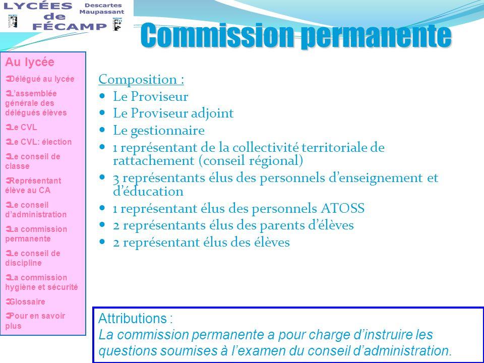 Commission permanente Composition : Le Proviseur Le Proviseur adjoint Le gestionnaire 1 représentant de la collectivité territoriale de rattachement (