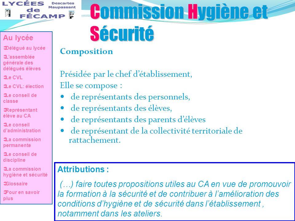 Commission Hygiène et Sécurité Composition Présidée par le chef détablissement, Elle se compose : de représentants des personnels, de représentants de