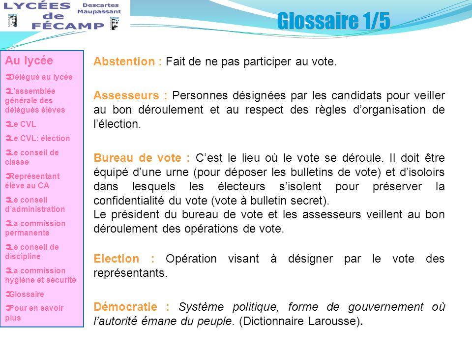Glossaire 1/5 Abstention : Fait de ne pas participer au vote. Assesseurs : Personnes désignées par les candidats pour veiller au bon déroulement et au
