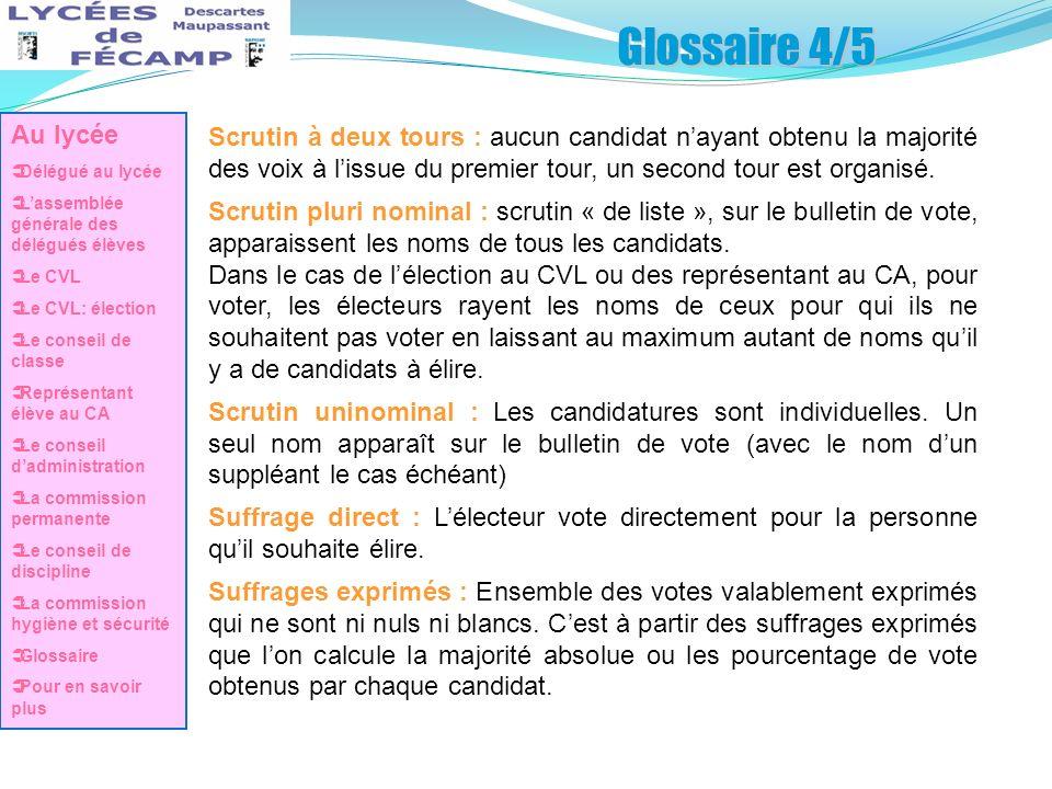 Glossaire 4/5 Scrutin à deux tours : aucun candidat nayant obtenu la majorité des voix à lissue du premier tour, un second tour est organisé. Scrutin
