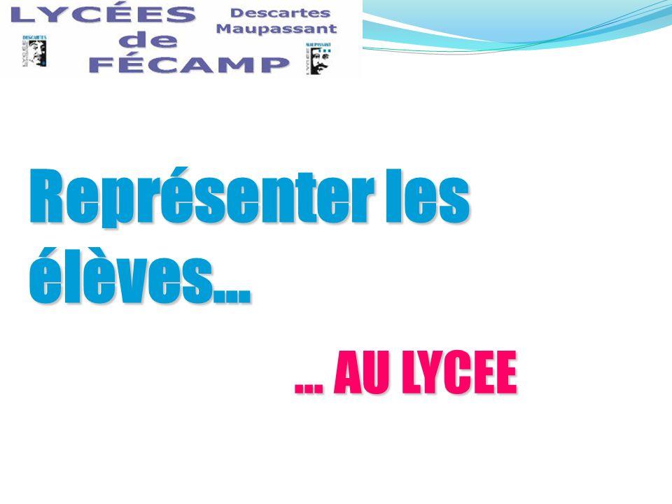 ... AU LYCEE Représenter les élèves...