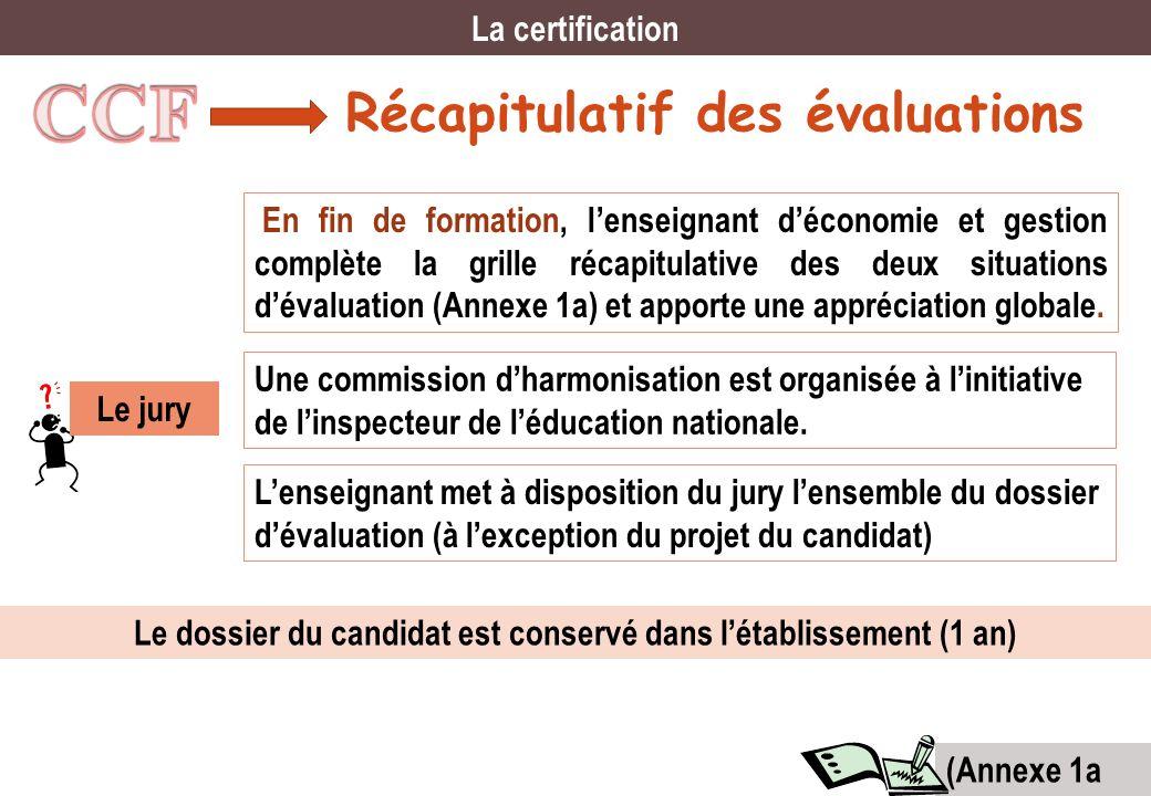 Récapitulatif des évaluations La certification En fin de formation, lenseignant déconomie et gestion complète la grille récapitulative des deux situat