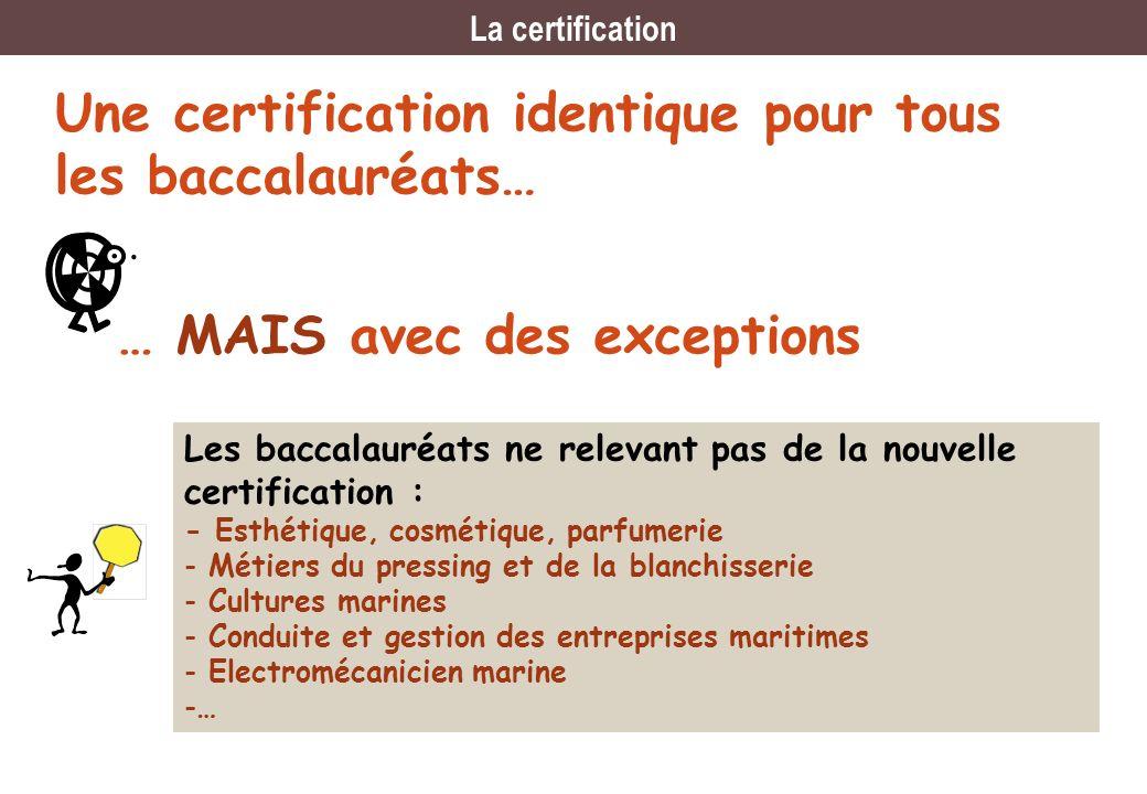 Une certification identique pour tous les baccalauréats… … MAIS avec des exceptions Les baccalauréats ne relevant pas de la nouvelle certification : -